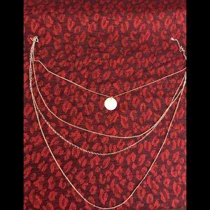 Vintage goldtone triple chain necklace